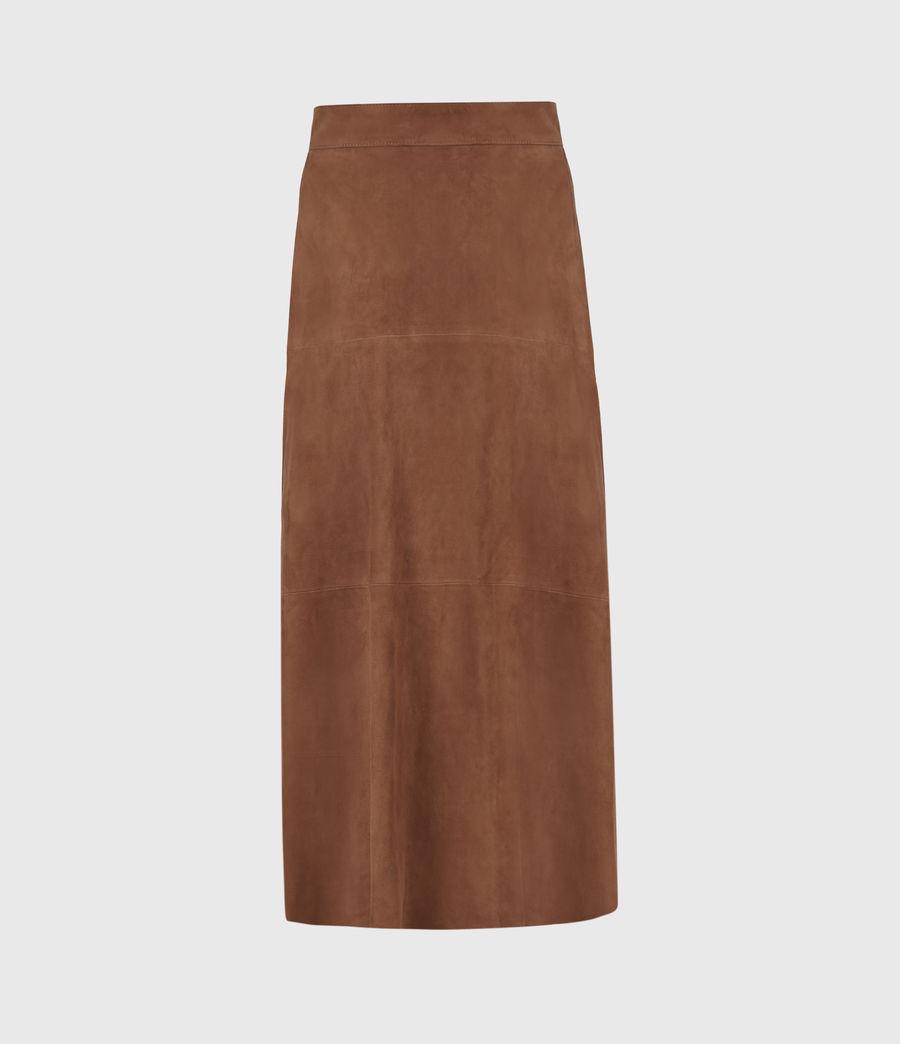 Womens Juva Suede Midi Skirt (tan_brown) - Image 3