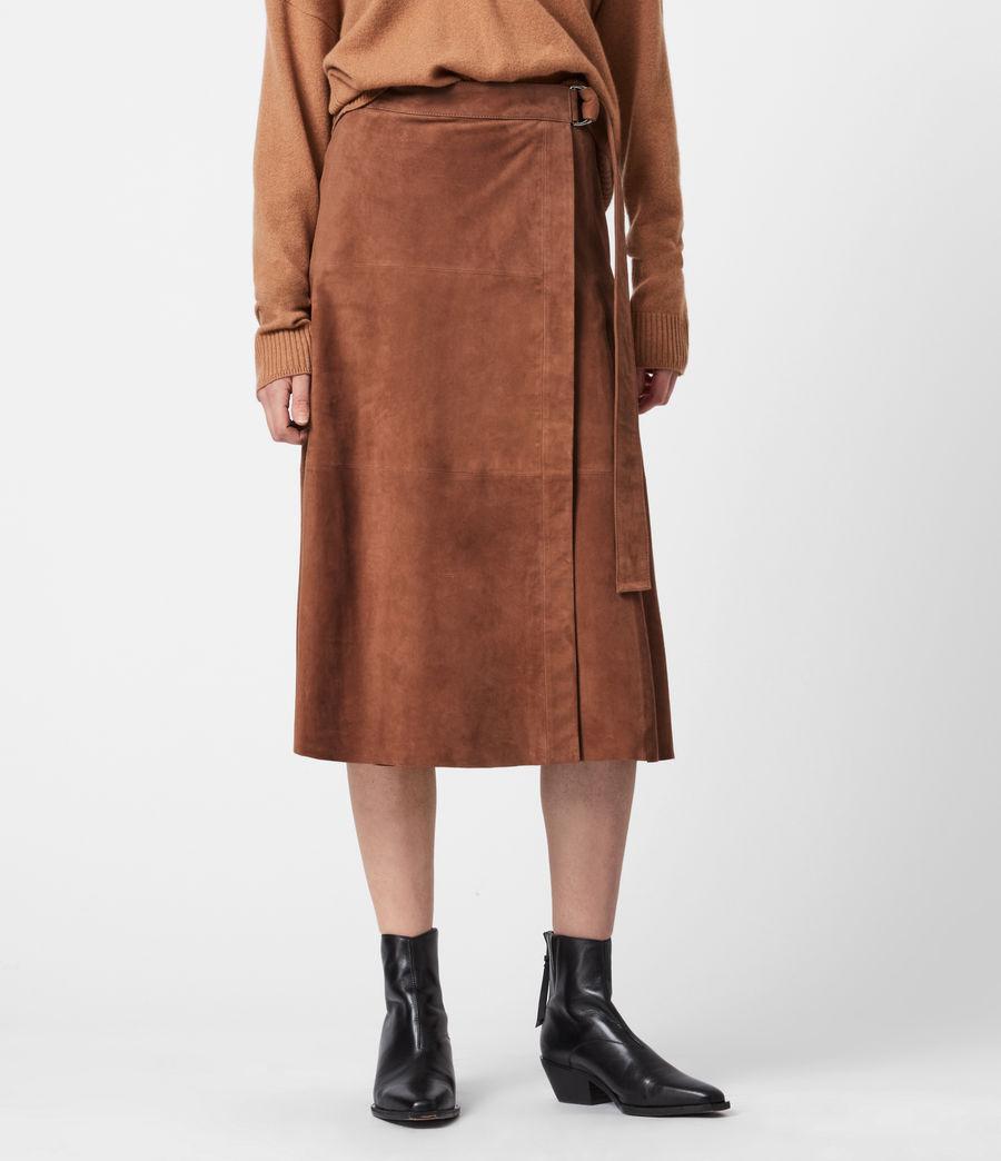 Womens Juva Suede Midi Skirt (tan_brown) - Image 4