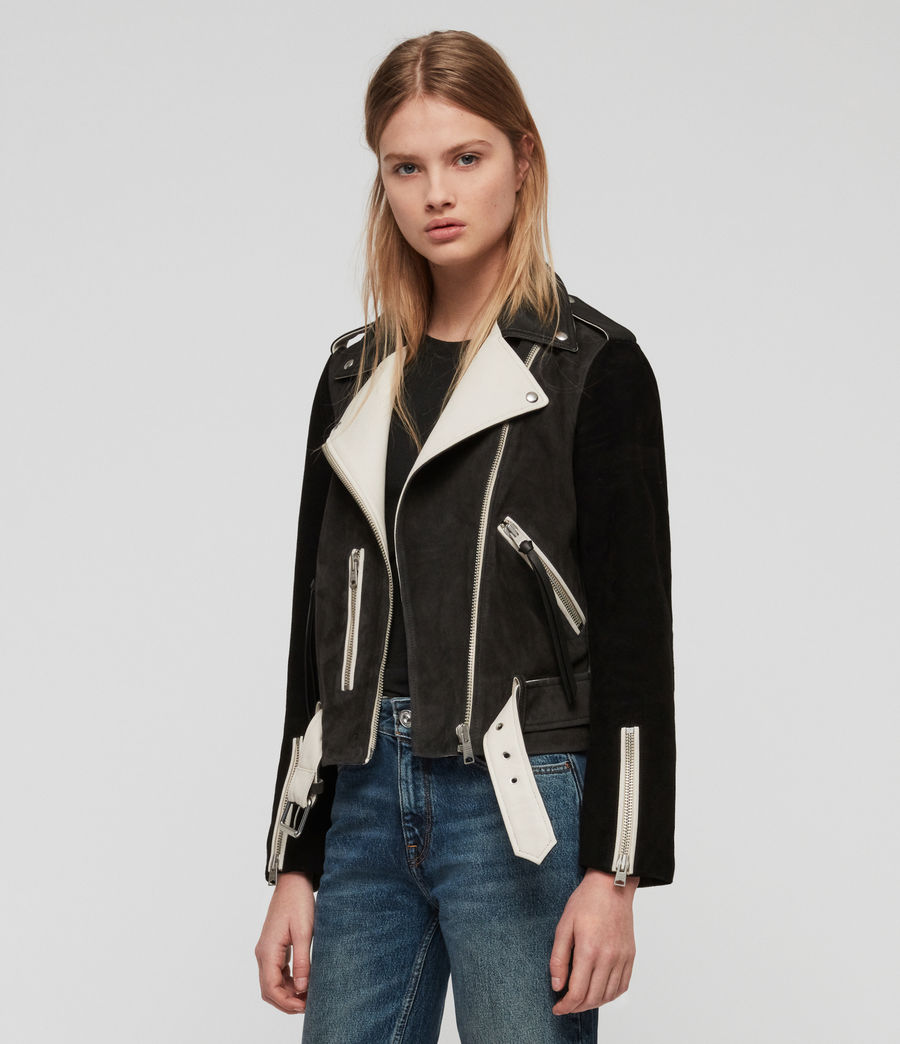 Damen Balfern Mix Leder Bikerjacke (black_white_mix) - Image 1