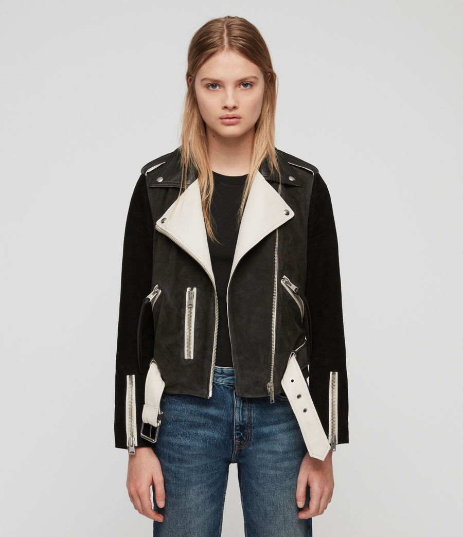 Damen Balfern Mix Leder Bikerjacke (black_white_mix) - Image 4