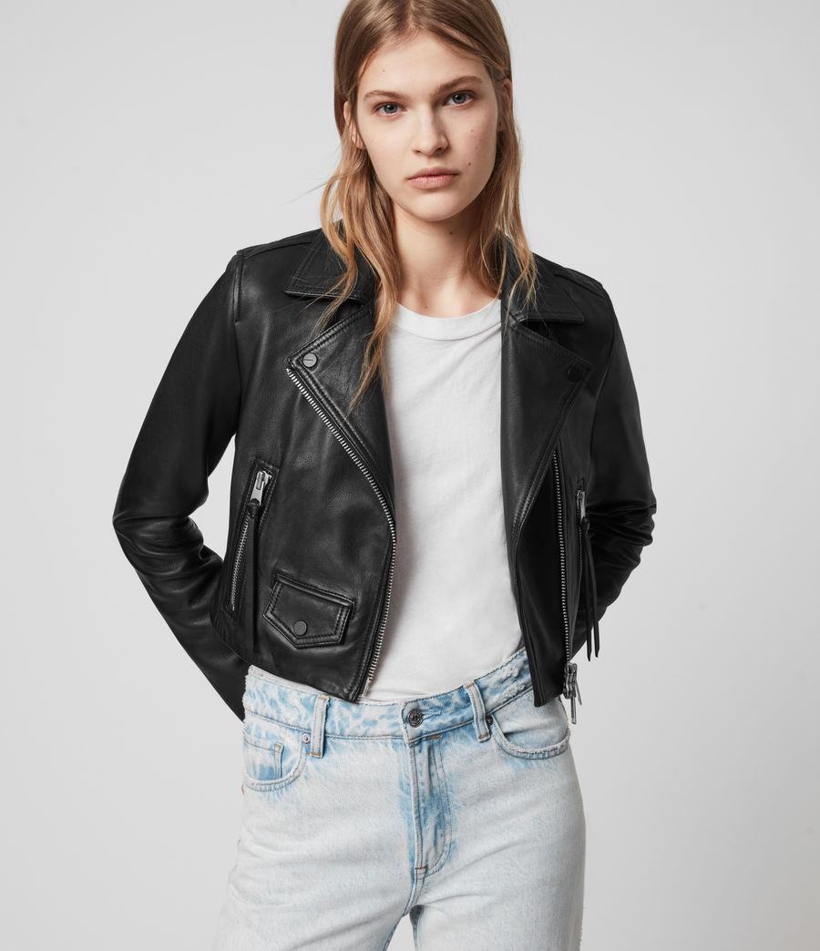 Womens Elora Leather Biker Jacket (black) - Image 1