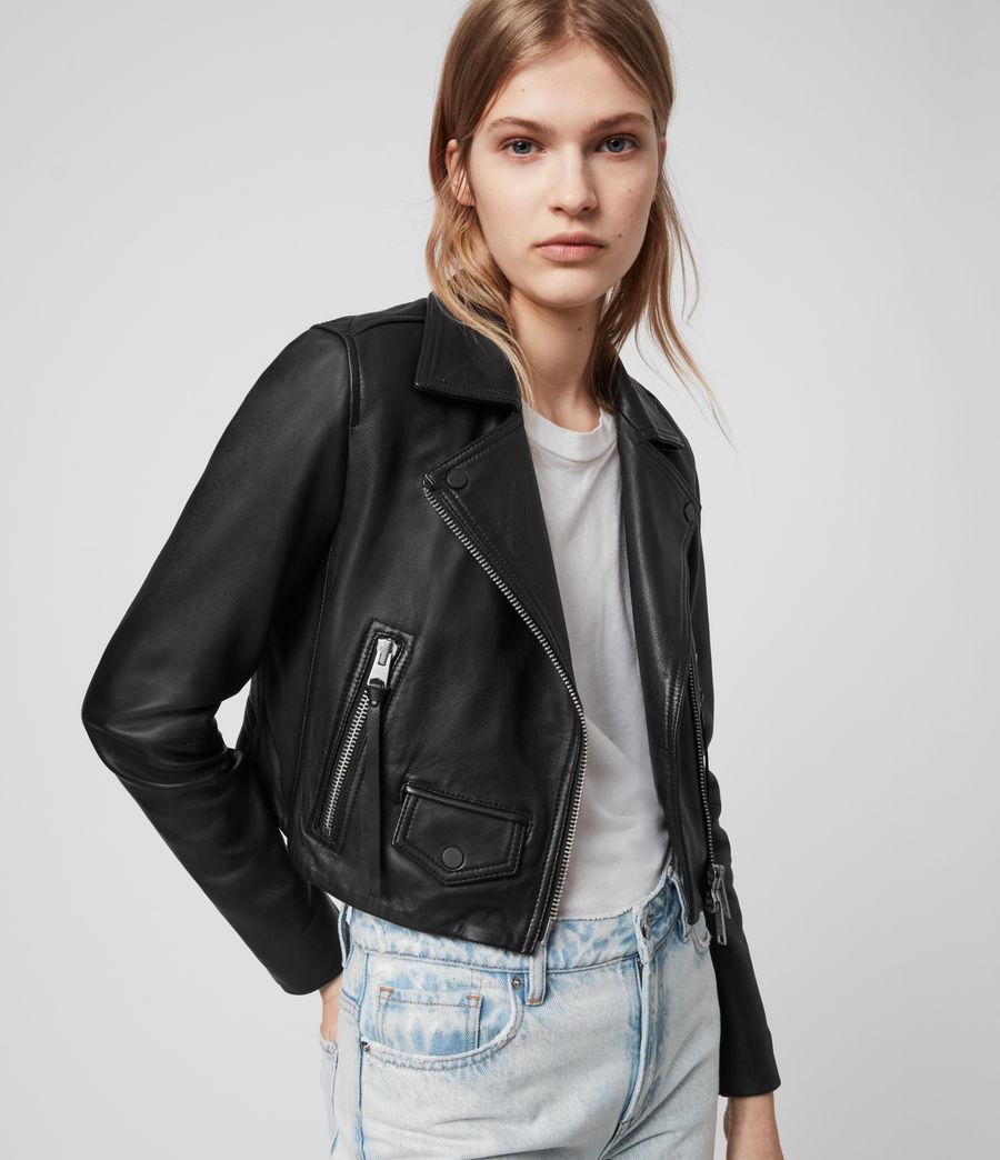 Womens Elora Leather Biker Jacket (black) - Image 2