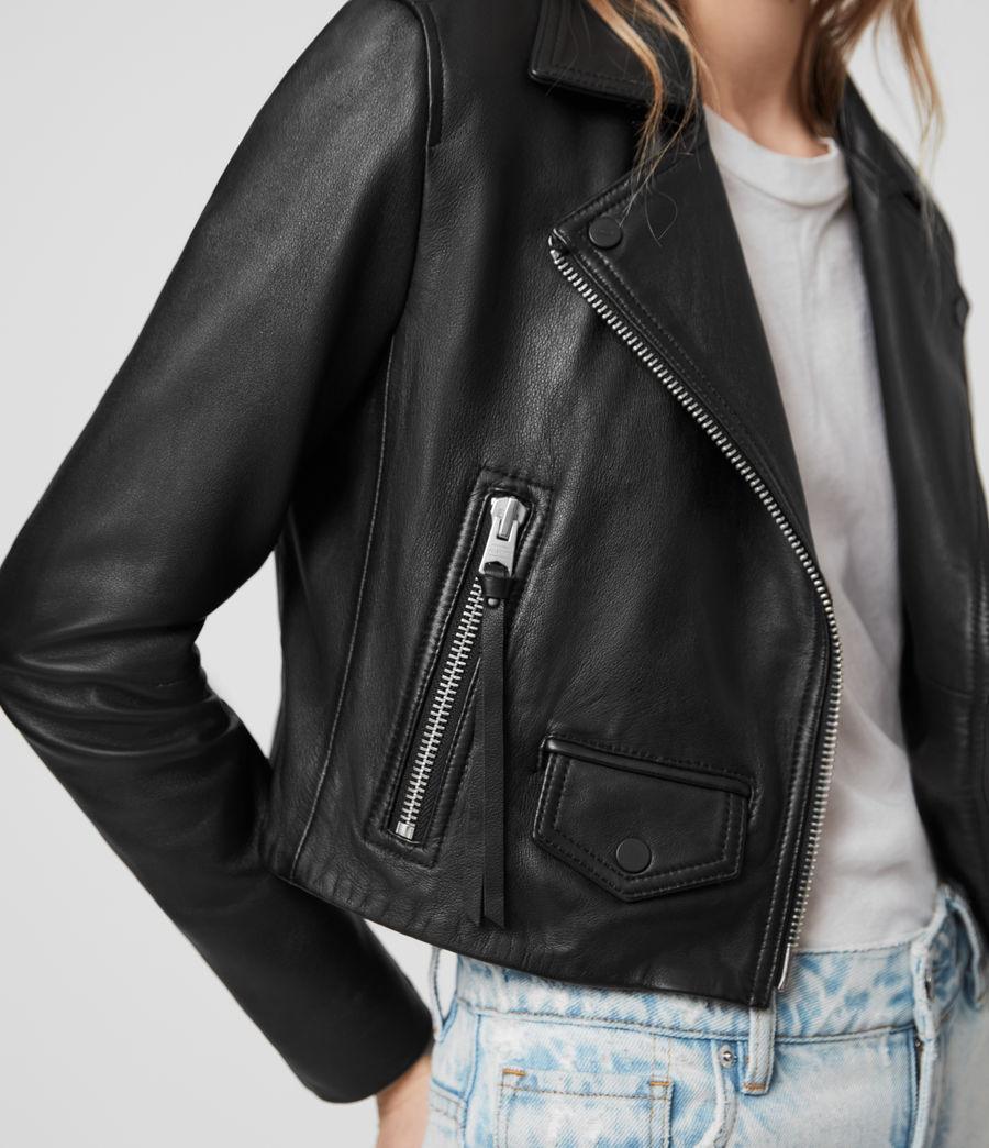 Womens Elora Leather Biker Jacket (black) - Image 4