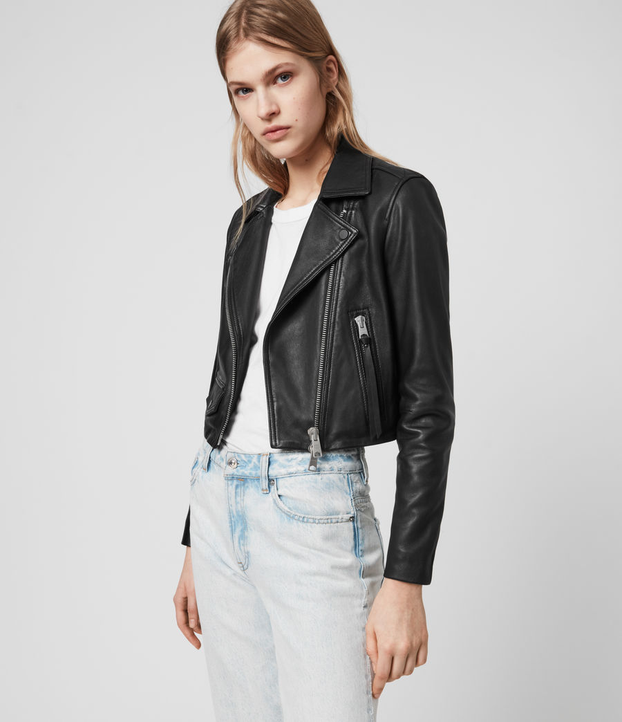 Womens Elora Leather Biker Jacket (black) - Image 5