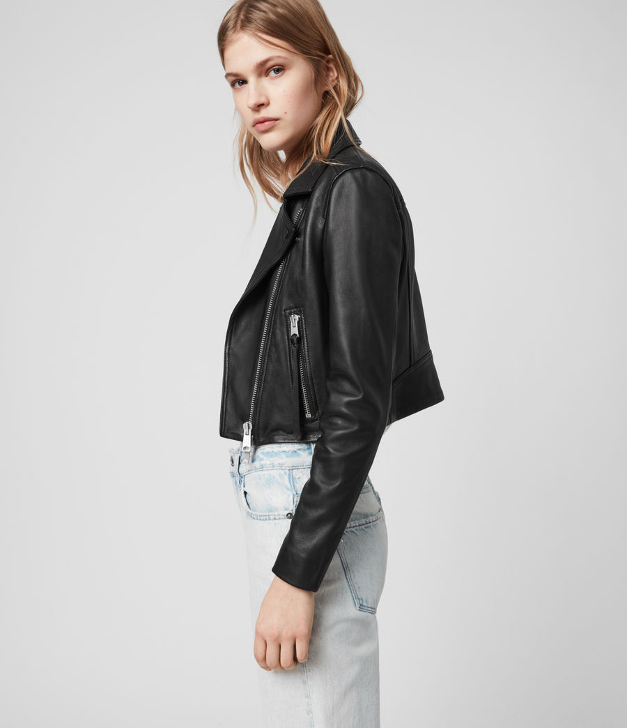 Womens Elora Leather Biker Jacket (black) - Image 6