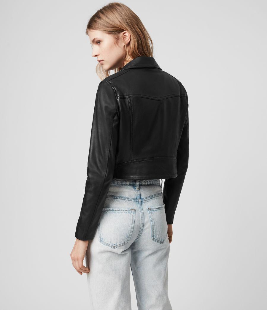 Womens Elora Leather Biker Jacket (black) - Image 7