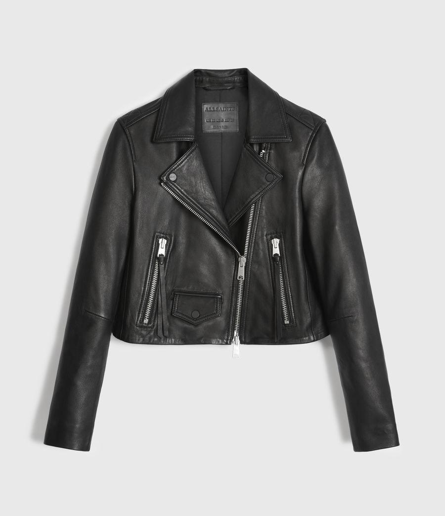 Womens Elora Leather Biker Jacket (black) - Image 8