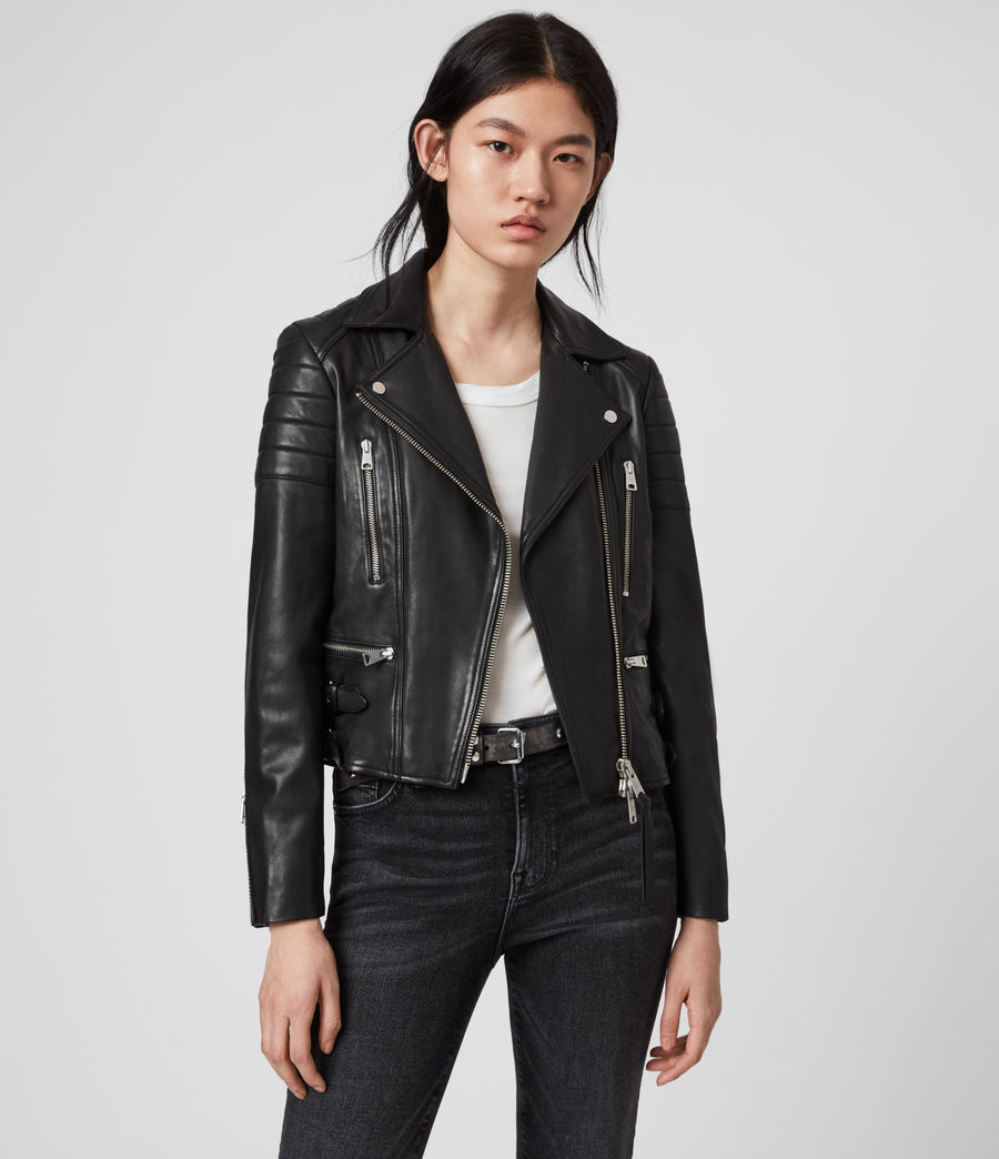 Womens Halley Leather Biker Jacket (black) - Image 1