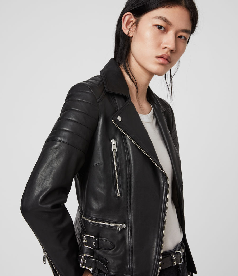 Womens Halley Leather Biker Jacket (black) - Image 2