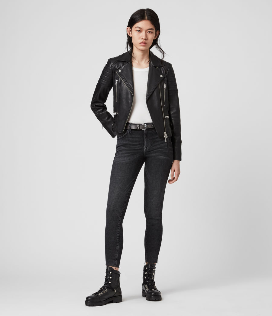 Womens Halley Leather Biker Jacket (black) - Image 3