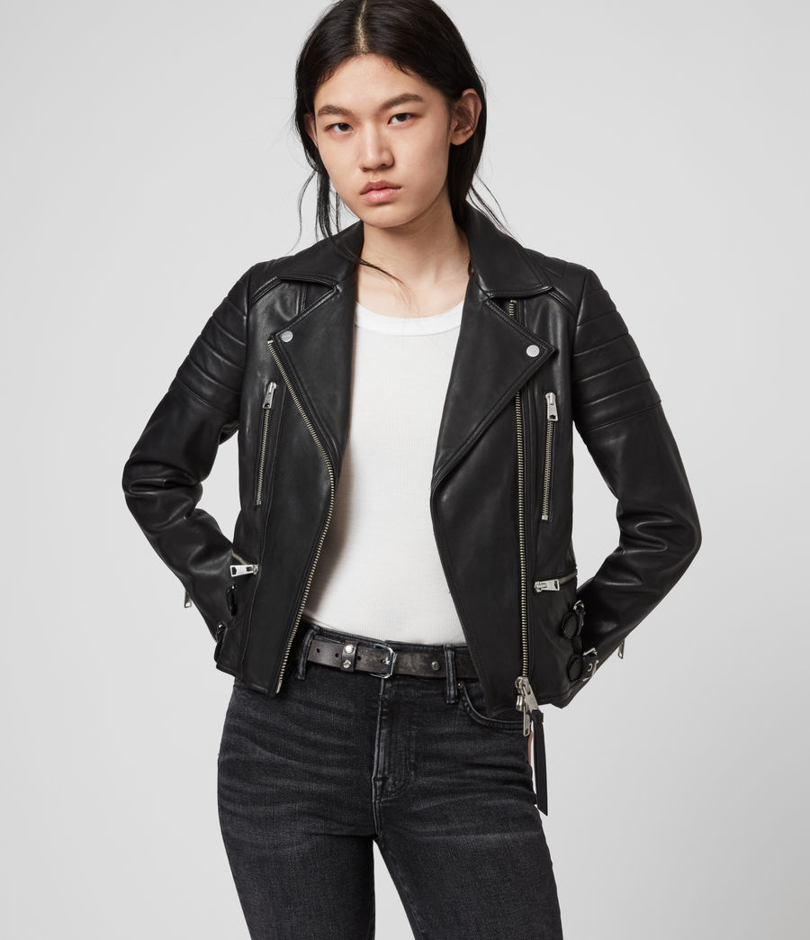 Womens Halley Leather Biker Jacket (black) - Image 4