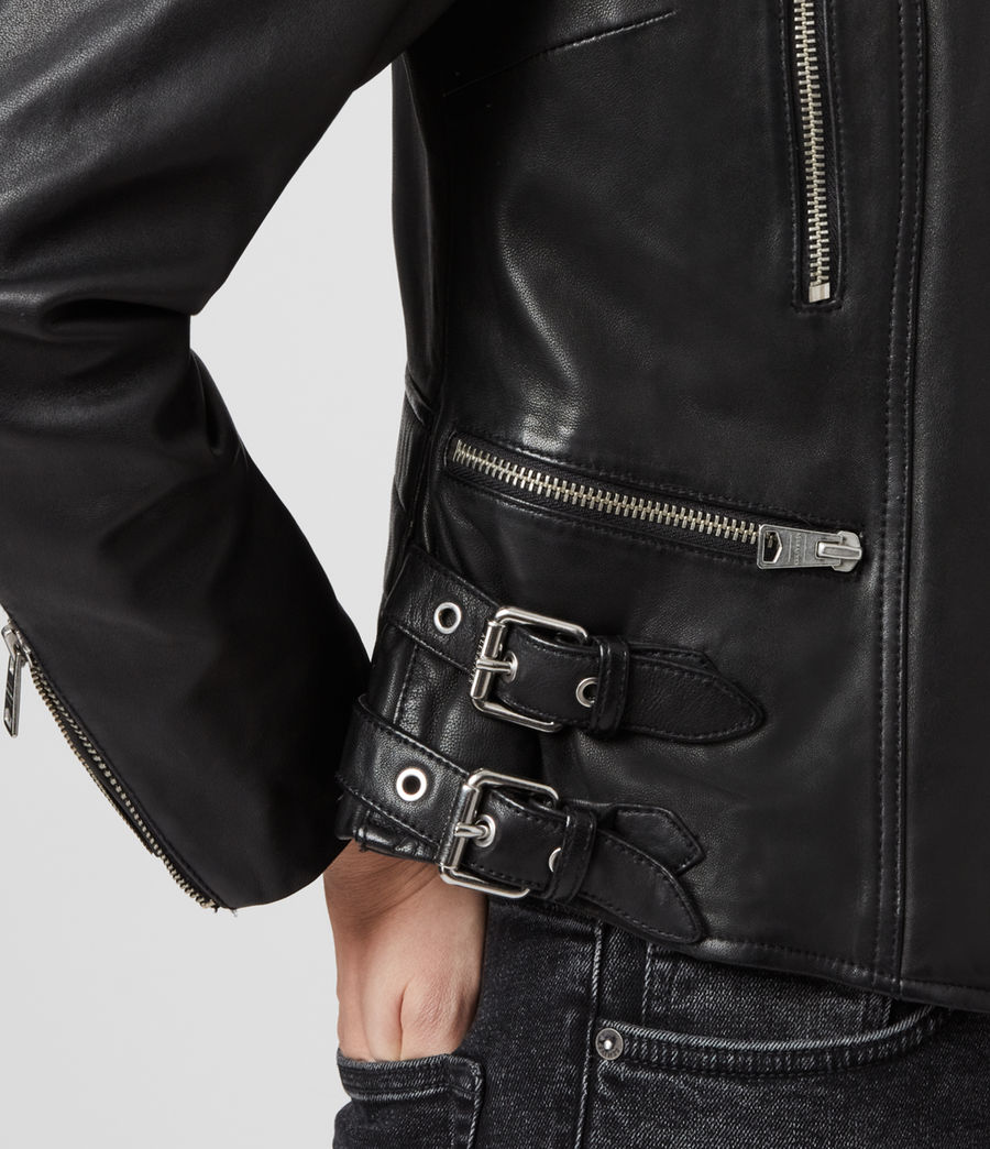 Womens Halley Leather Biker Jacket (black) - Image 5