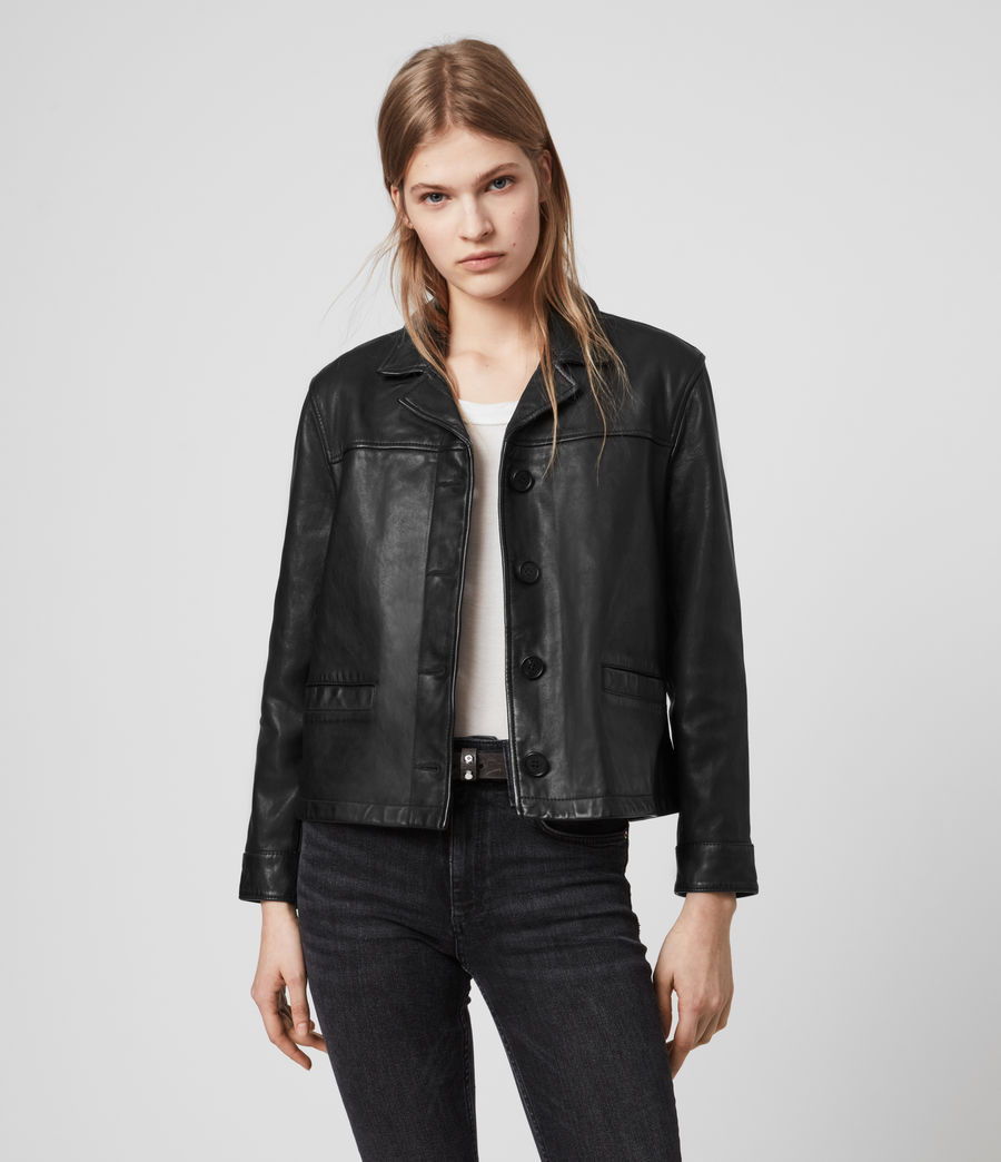 Womens Waver Leather Jacket (black) - Image 1