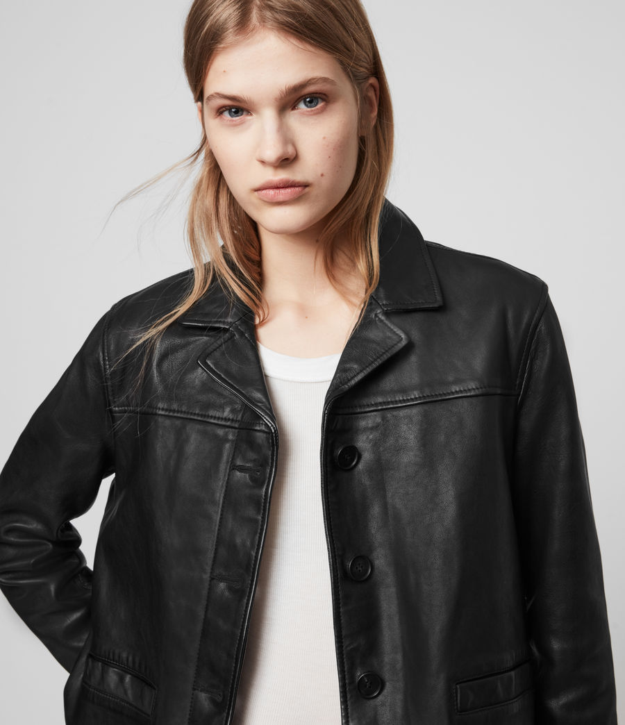 Womens Waver Leather Jacket (black) - Image 2