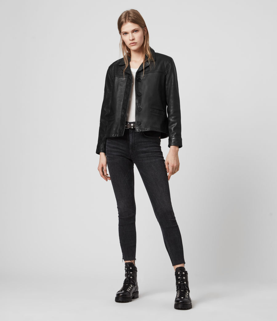 Womens Waver Leather Jacket (black) - Image 3
