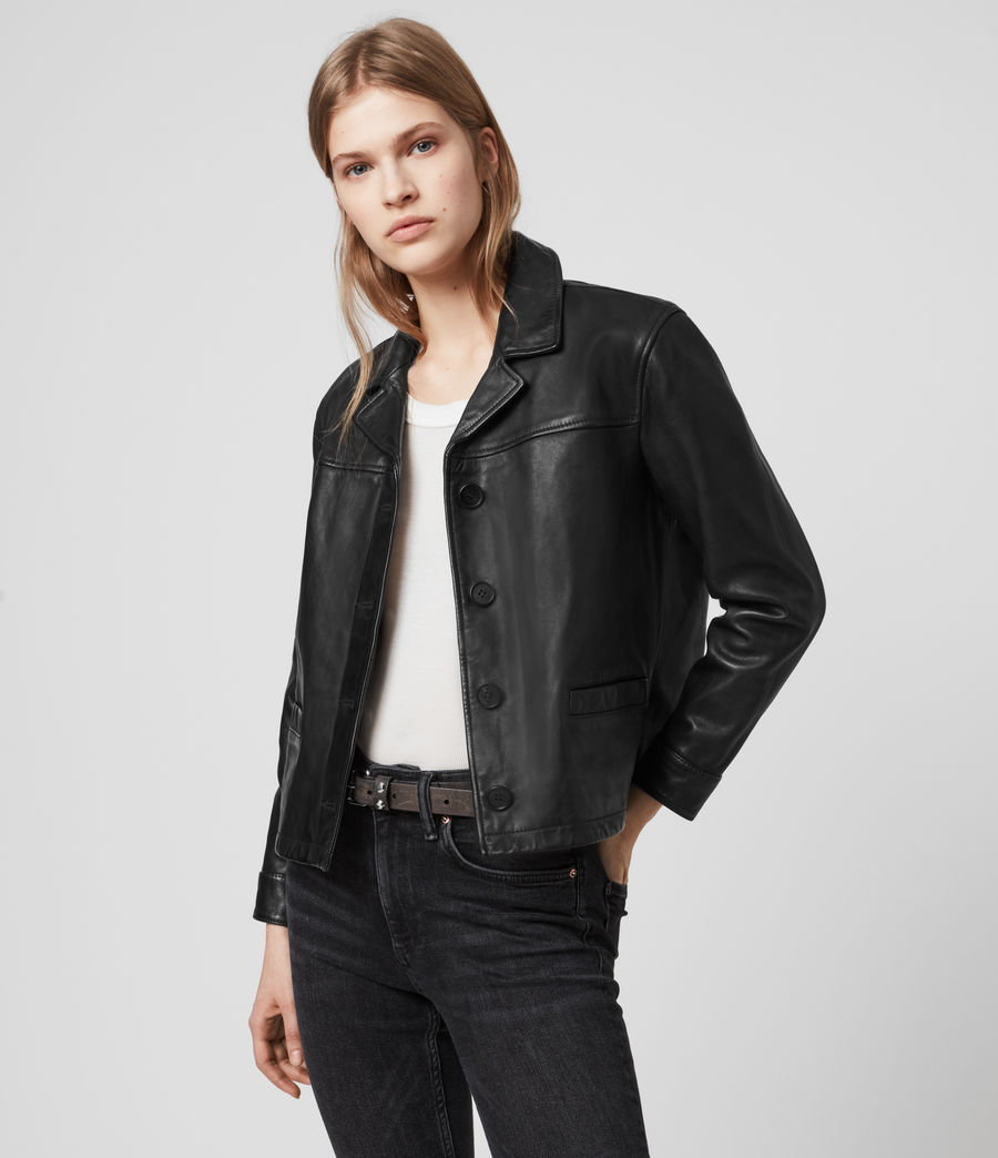 Womens Waver Leather Jacket (black) - Image 5