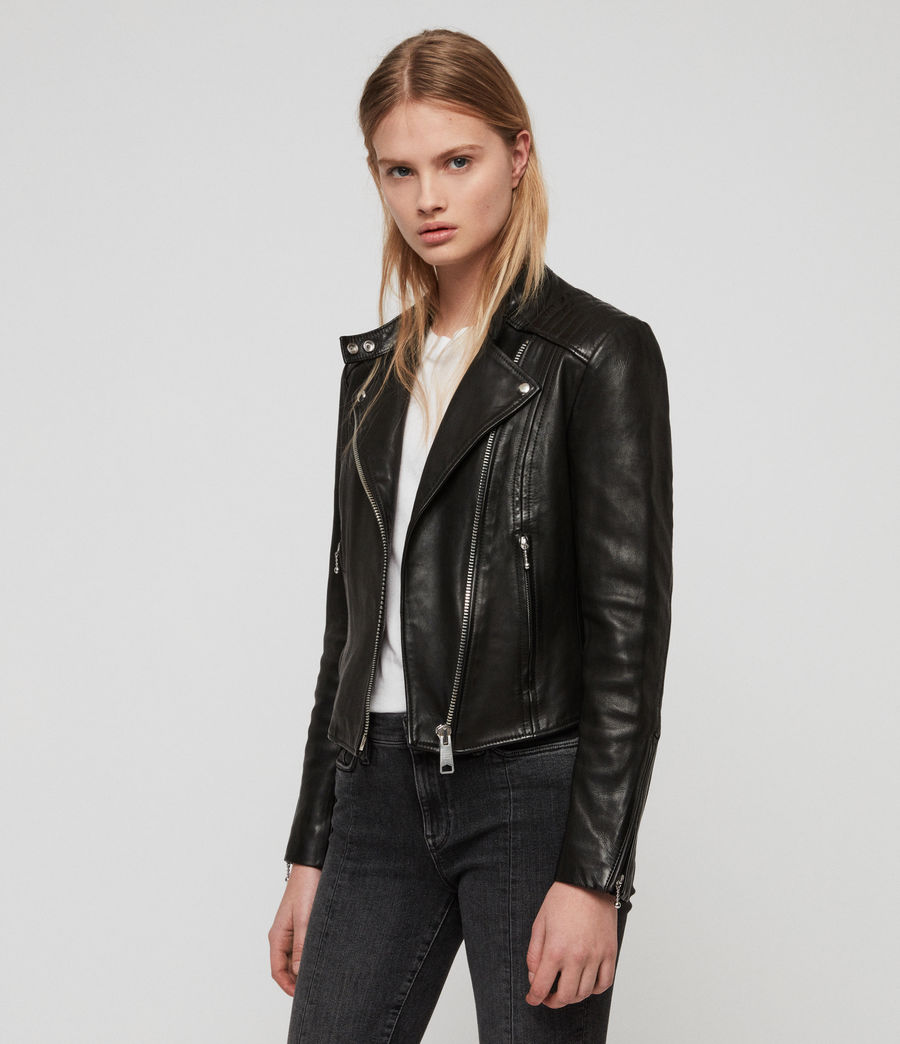 Womens Bircham Leather Biker Jacket (black) - Image 1