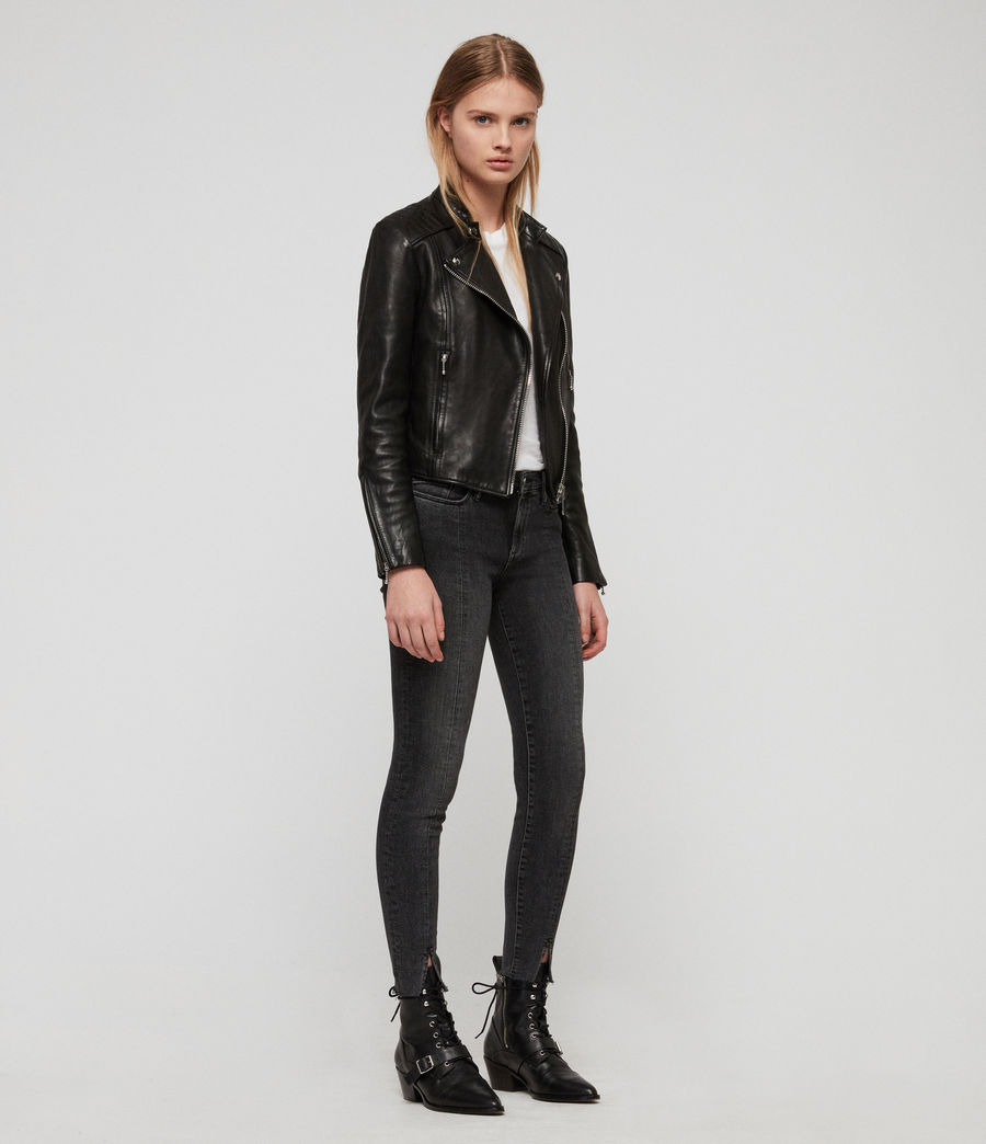 Womens Bircham Leather Biker Jacket (black) - Image 3