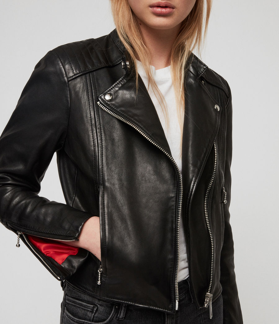 Women's Bircham Leather Biker Jacket (black) - Image 4