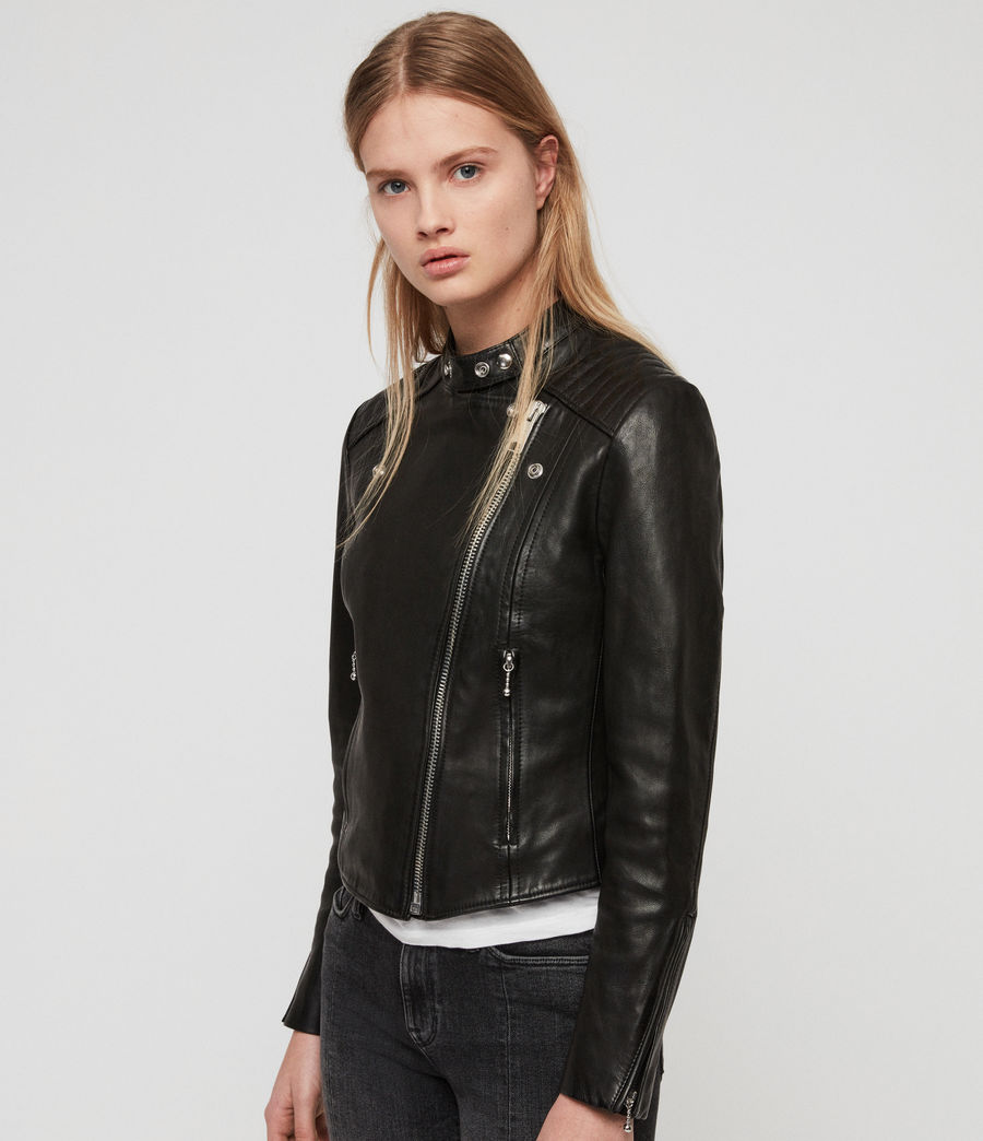 Womens Bircham Leather Biker Jacket (black) - Image 6