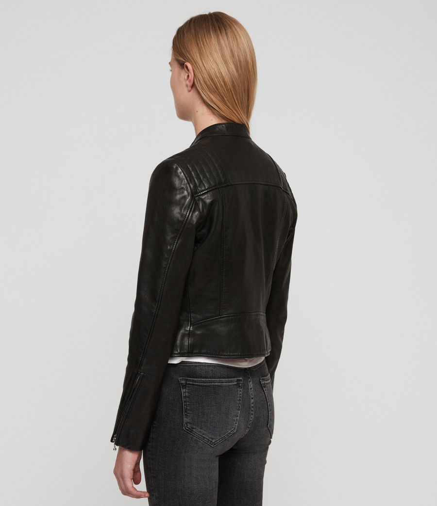 Womens Bircham Leather Biker Jacket (black) - Image 7
