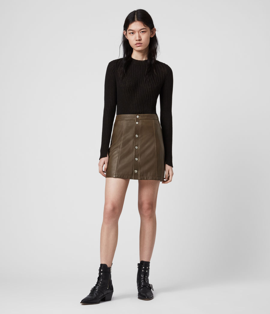 Womens Carson Leather Skirt (olive_green) - Image 1