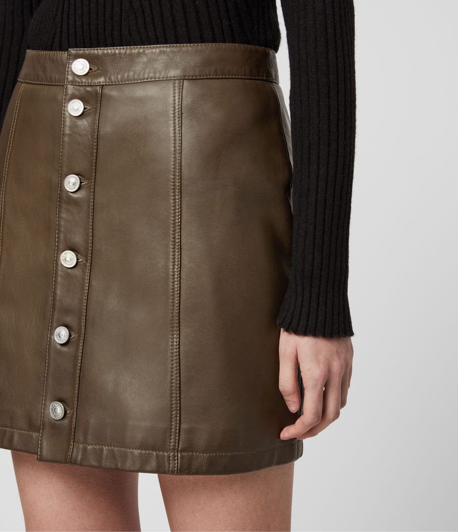 Women's Carson Leather Skirt (olive_green) - Image 2