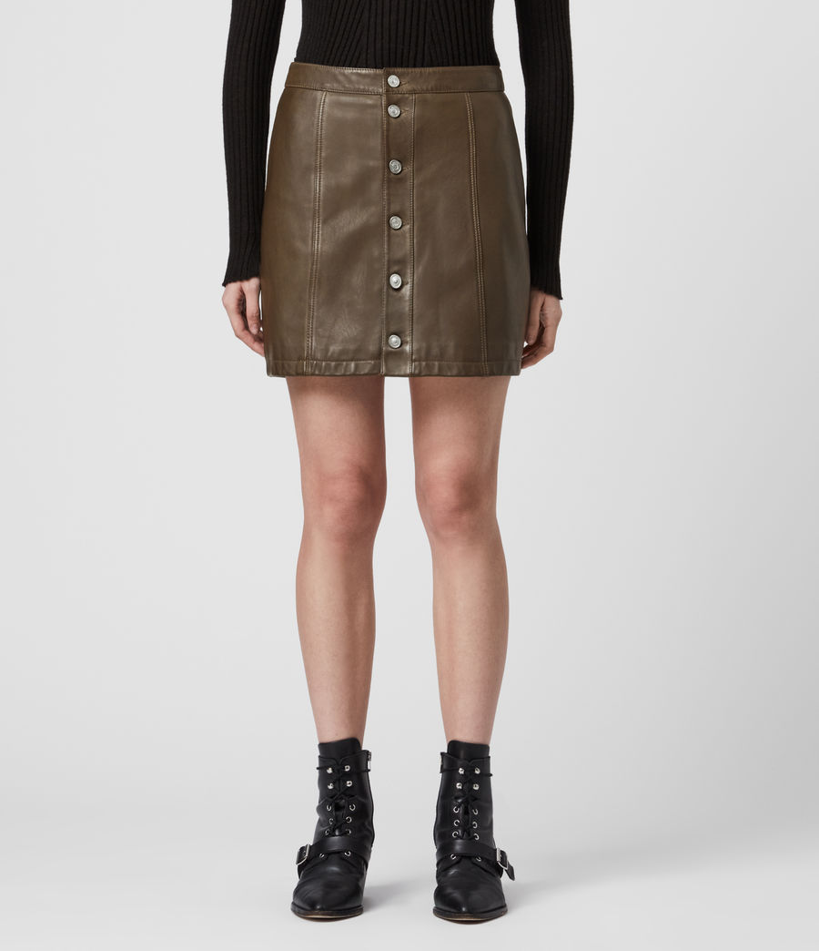 Women's Carson Leather Skirt (olive_green) - Image 3