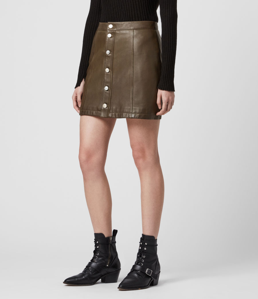 Womens Carson Leather Skirt (olive_green) - Image 2
