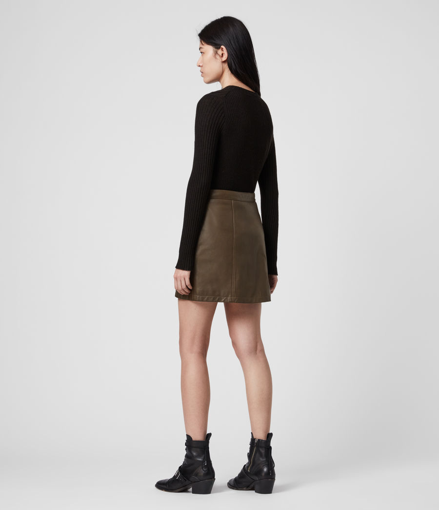 Womens Carson Leather Skirt (olive_green) - Image 3