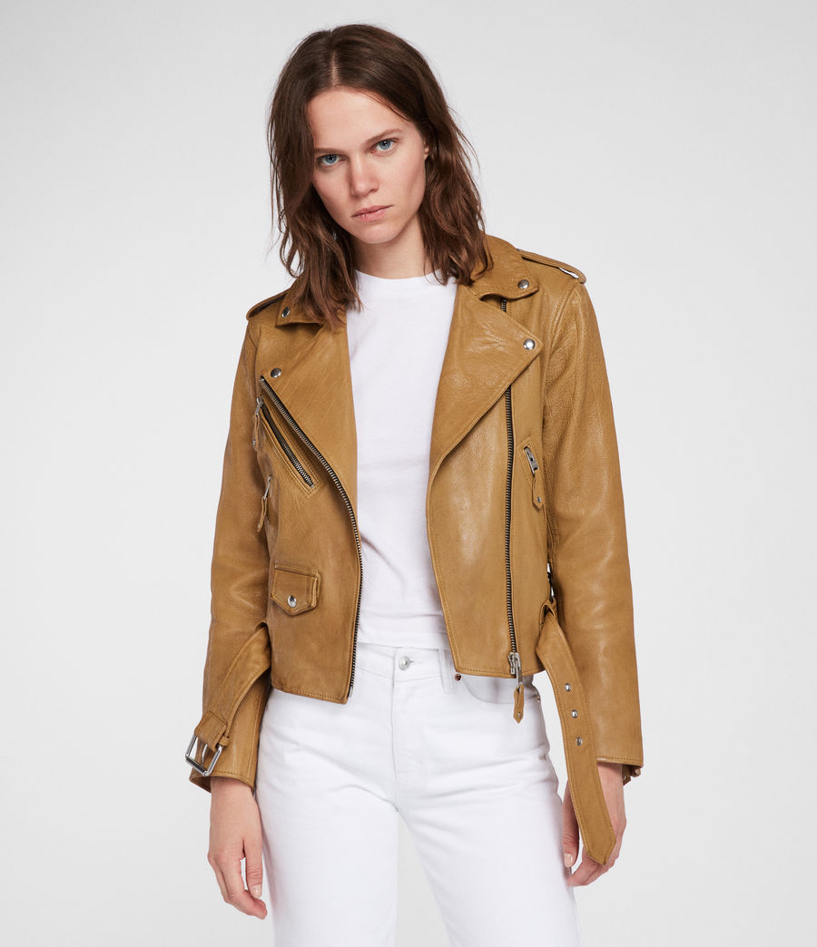 Women's Sarana Leather Biker Jacket (mustard_yellow) - Image 1