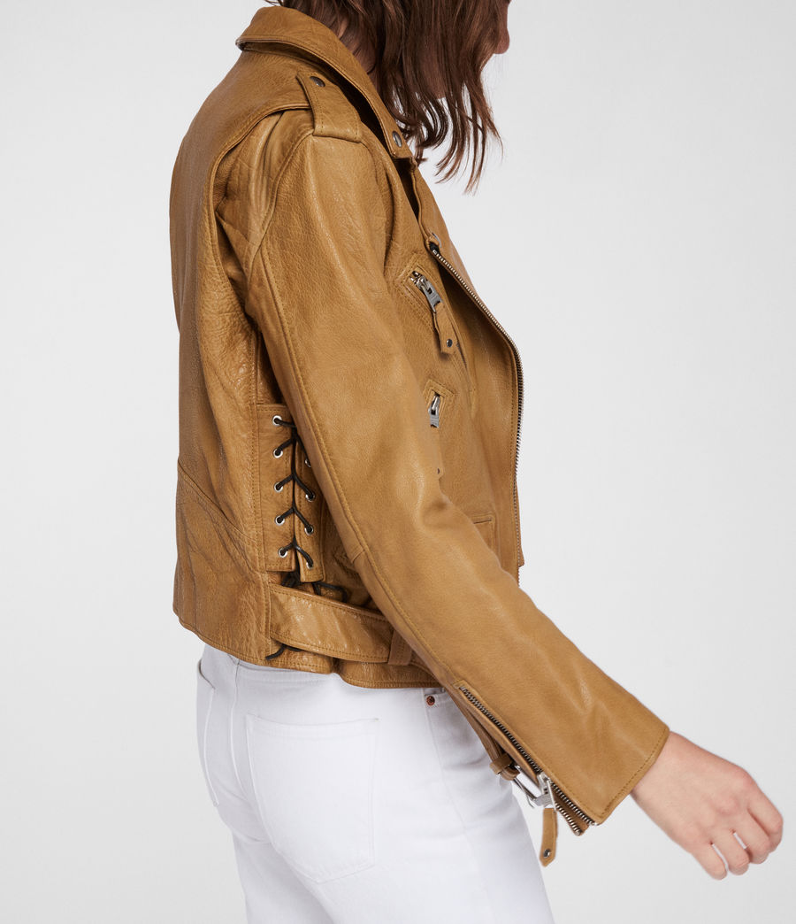 Women's Sarana Leather Biker Jacket (mustard_yellow) - Image 2