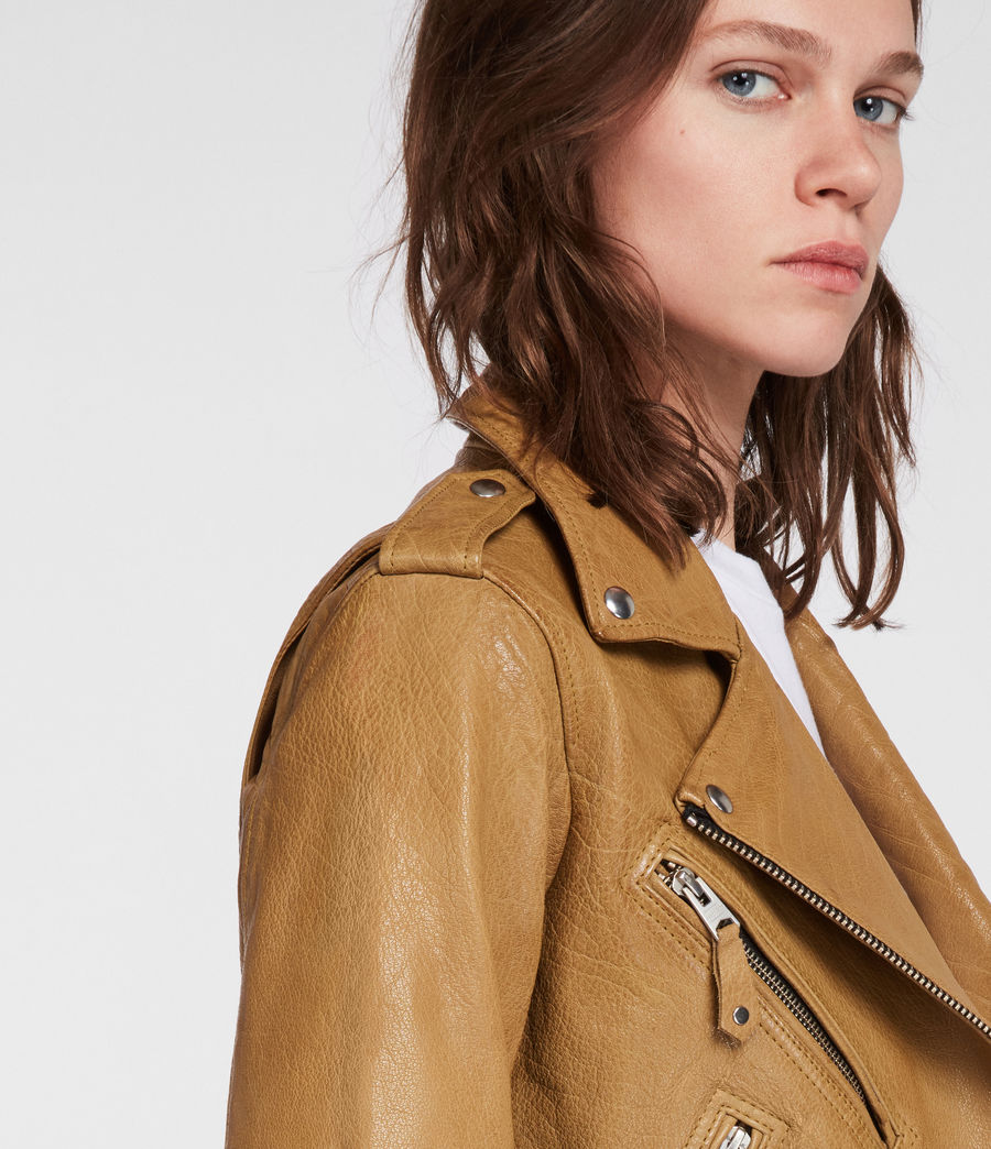 Women's Sarana Leather Biker Jacket (mustard_yellow) - Image 3