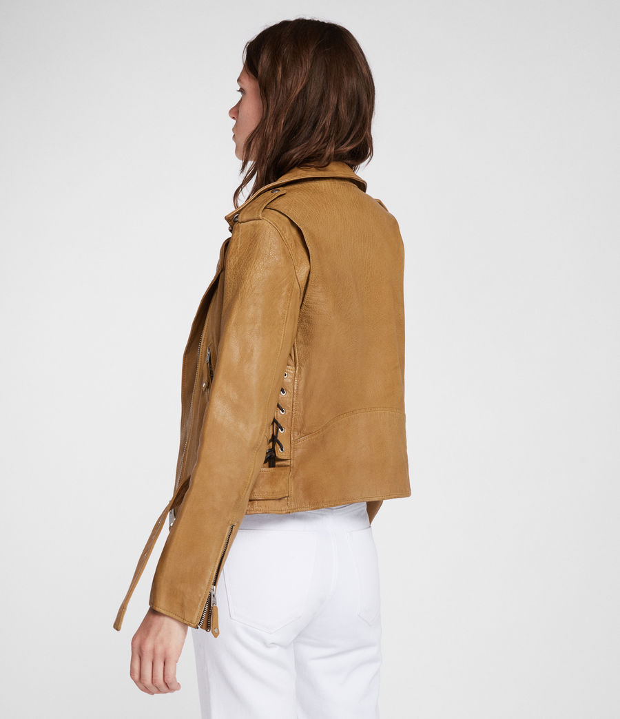Women's Sarana Leather Biker Jacket (mustard_yellow) - Image 5