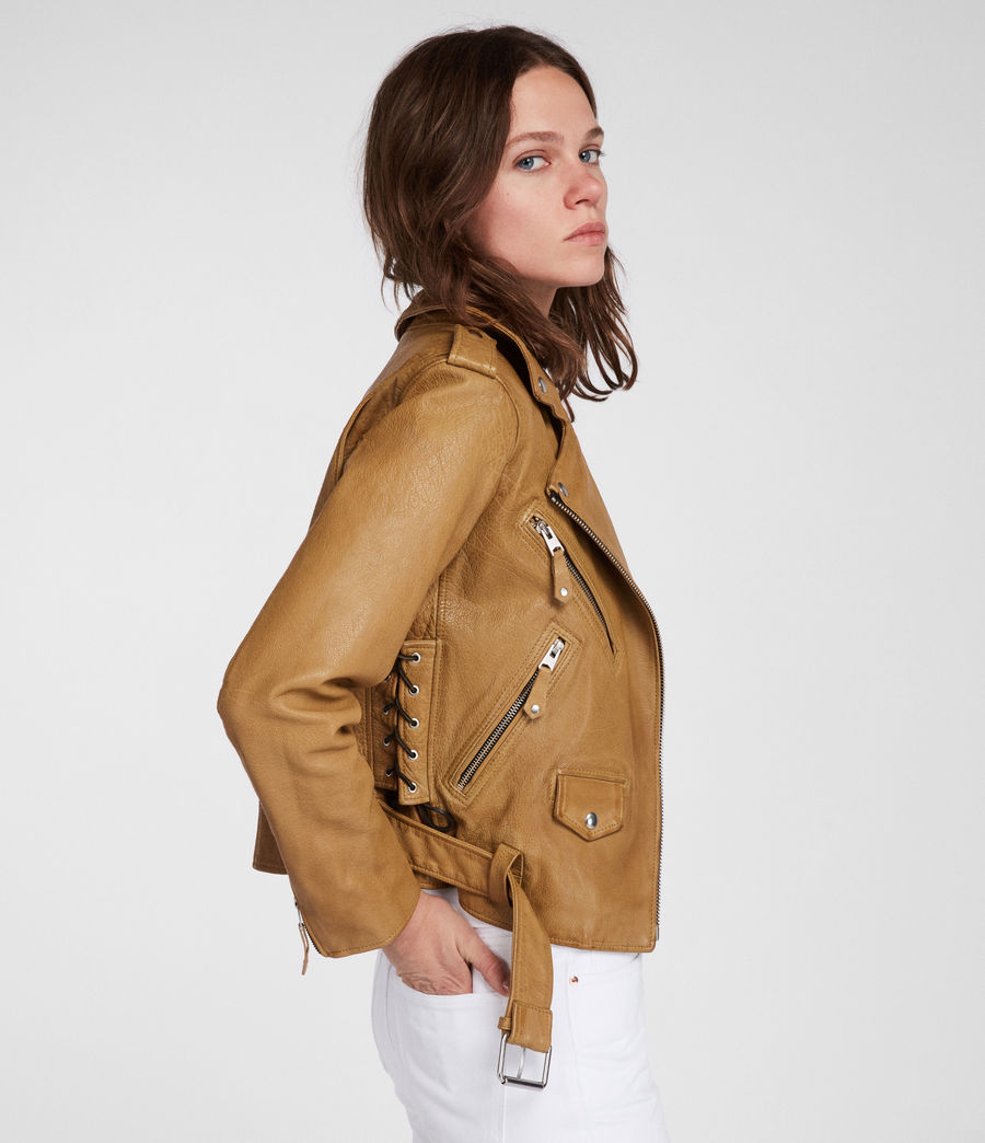 Women's Sarana Leather Biker Jacket (mustard_yellow) - Image 6