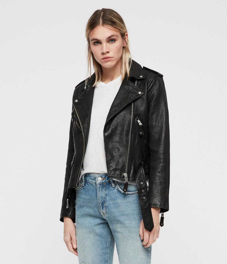 Womens Sarana Leather Biker Jacket (black) - Image 3