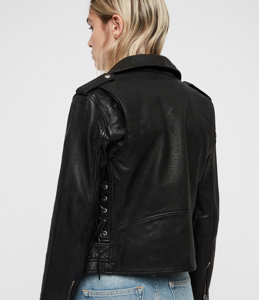 Womens Sarana Leather Biker Jacket (black) - Image 4