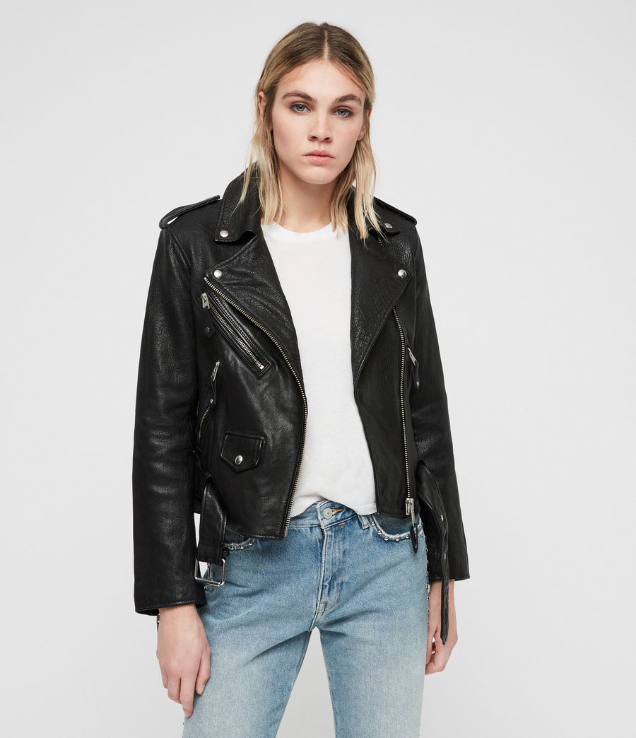 Womens Sarana Leather Biker Jacket (black) - Image 5
