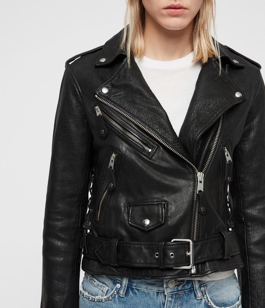 Womens Sarana Leather Biker Jacket (black) - Image 6
