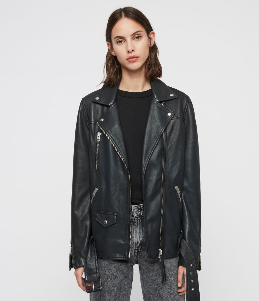 Womens Eline Oversized Leather Biker Jacket (black) - Image 1