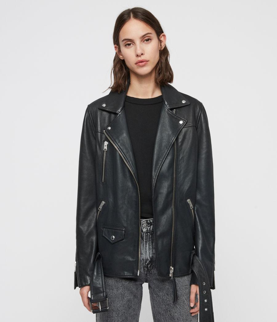 Women's Eline Oversized Leather Biker Jacket (black) - Image 1