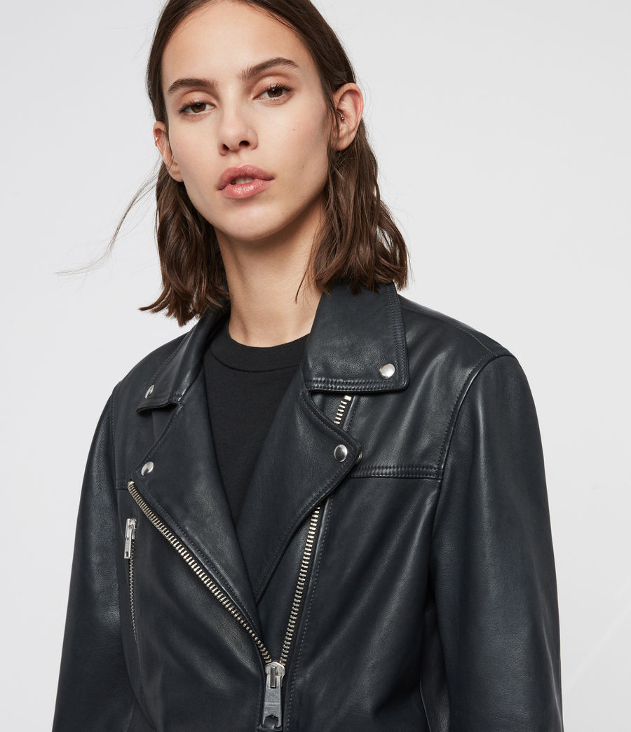 Womens Eline Oversized Leather Biker Jacket (black) - Image 2
