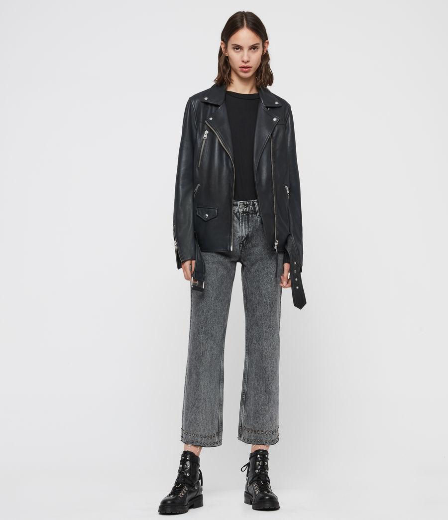Women's Eline Oversized Leather Biker Jacket (black) - Image 3