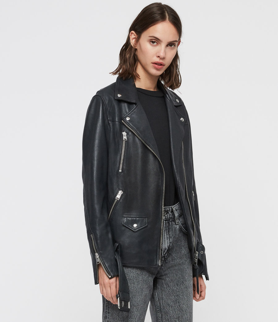 Womens Eline Oversized Leather Biker Jacket (black) - Image 4