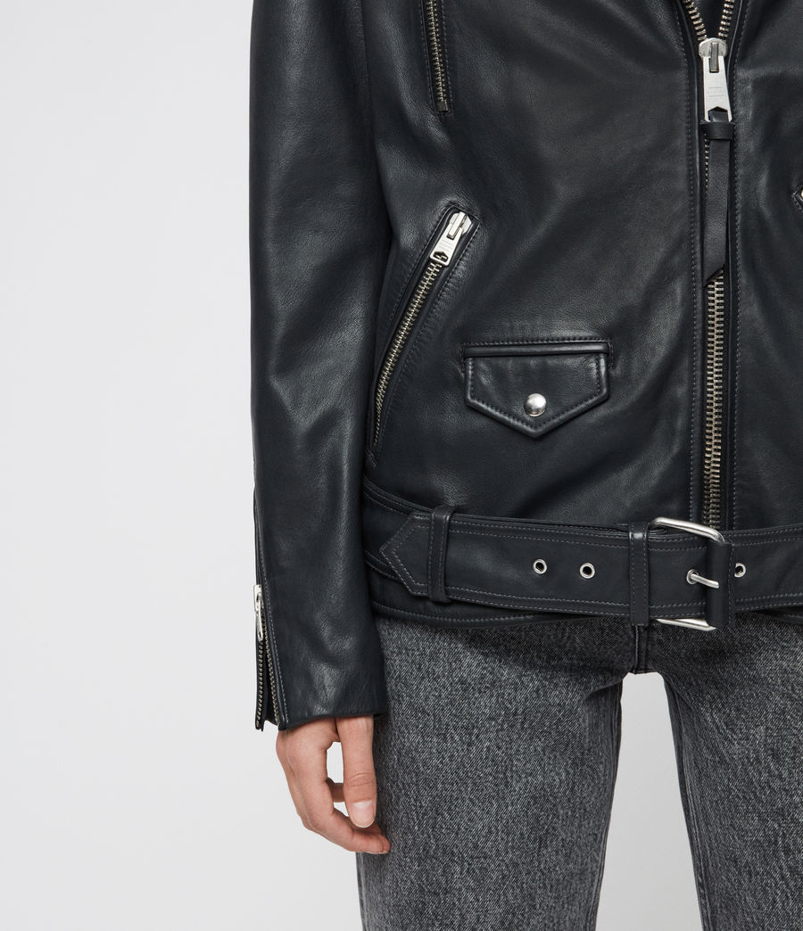 Women's Eline Oversized Leather Biker Jacket (black) - Image 5
