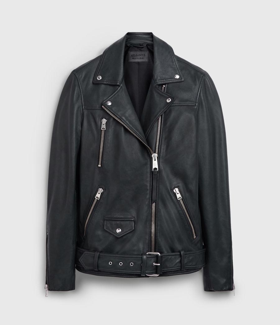 Damen Eline Oversize Leder Bikerjacke (black) - Image 8