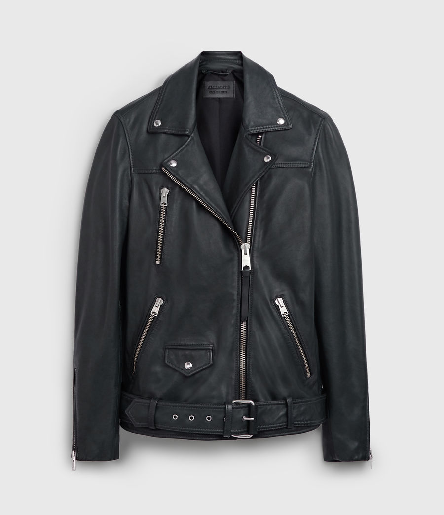 Women's Eline Oversized Leather Biker Jacket (black) - Image 8