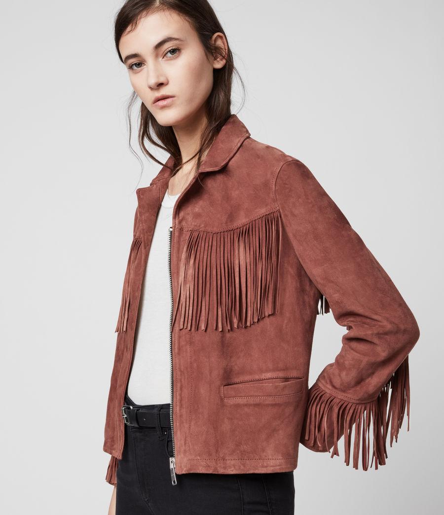Women's Mina Suede Tassel Jacket (deep_cherry) - Image 1