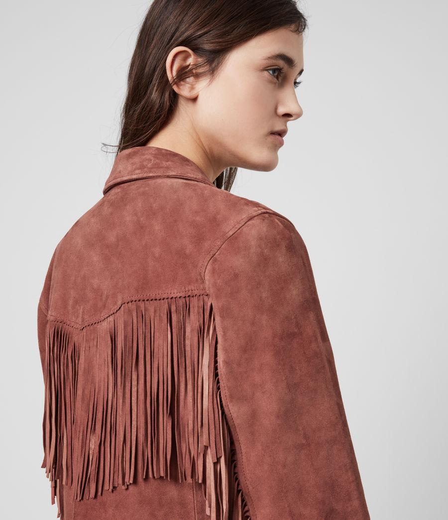 Women's Mina Suede Tassel Jacket (deep_cherry) - Image 2