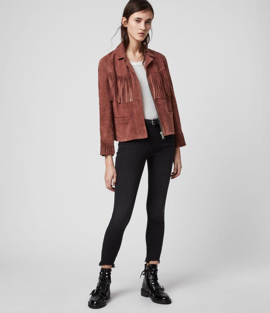 Women's Mina Suede Tassel Jacket (deep_cherry) - Image 3